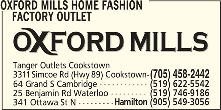 oxford mills home fashion factory outlet cookstown on 3311 simcoe rd canpages. Black Bedroom Furniture Sets. Home Design Ideas