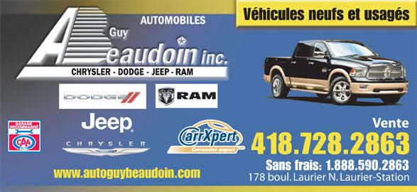 Automobiles Guy Beaudoin Inc (418-728-2863) - Annonce illustrée======= - Véhicules neufs et usagés RAM Vente 418.728.2863 Sans frais: 1.888.590.2863 www.autoguybeaudoin.com 178 boul. Laurier N. Laurier-Station