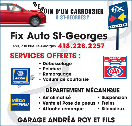 Fix auto garage andr a roy et fils inc 480 90e rue for Garage bien etre auto saint gratien