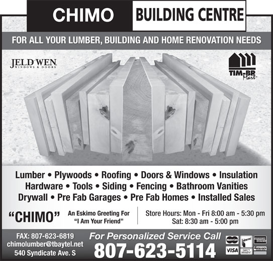 Chimo Building Centre Opening Hours 540 Syndicate Ave