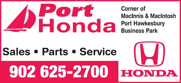 Port Honda (902-625-2700) - Display Ad - 902 625-2700 Sales   Parts   Service Corner of MacInnis & MacIntosh Port Hawkesbury Honda Business Park