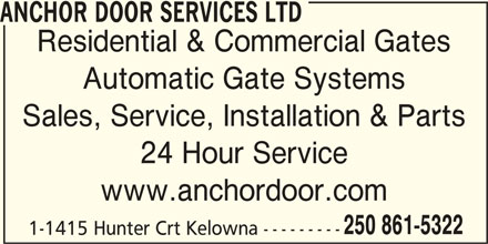 Anchor Door Services Ltd Kelowna Bc 11 1415 Hunter