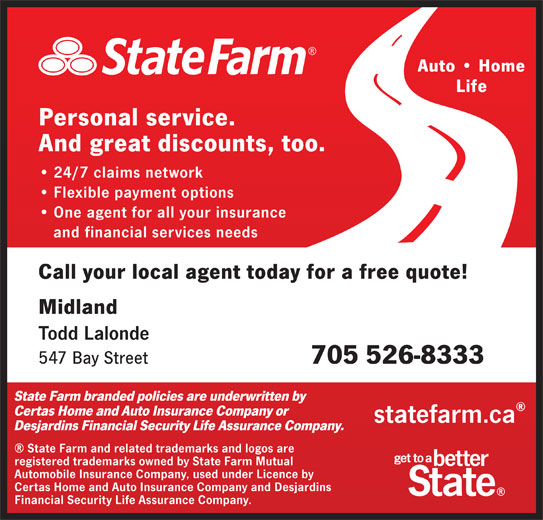 state farm insurance midland on 547 bay st canpages. Black Bedroom Furniture Sets. Home Design Ideas