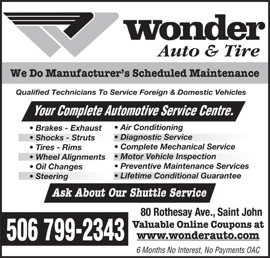 Wonder Auto Amp Tire Saint John Nb 80 Rothesay Ave
