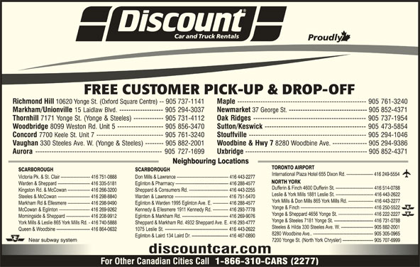 Discount Car Rental Calgary Locations