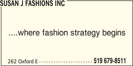 Susan J Fashions Inc (519-679-8511) - Display Ad -