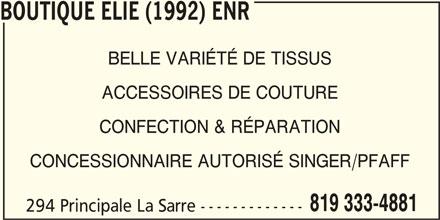 Boutique Elie (1992) Enr (819-333-4881) - Annonce illustrée======= -