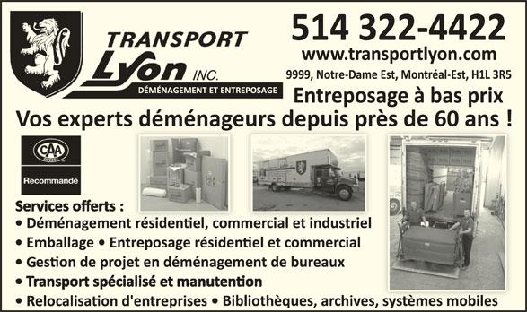Transport lyon montr al est qc 9999 rue notre dame e for Entreposage meuble montreal