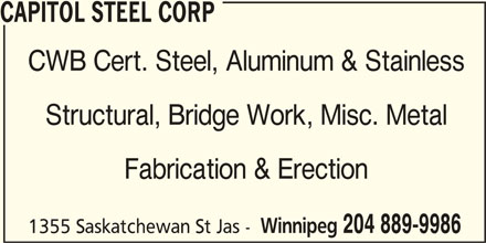 Capitol steel corp winnipeg mb 1355 saskatchewan ave for Abco salon supplies