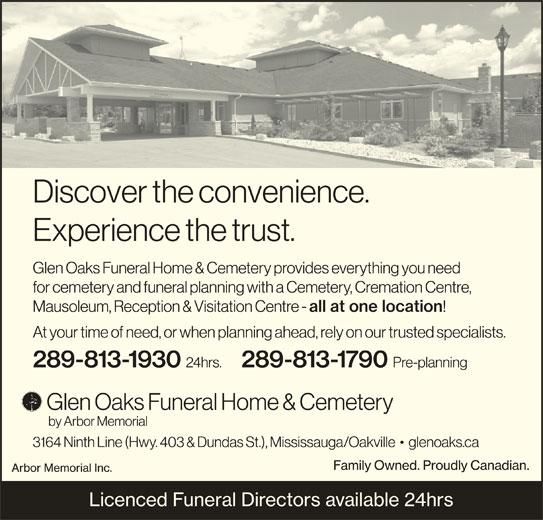 glen oaks funeral home cemetery 289 813 1930 display ad - Garden Oak Funeral Home