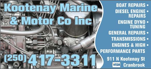 Kootenay marine opening hours 911 kootenay st n for General motors marine engines