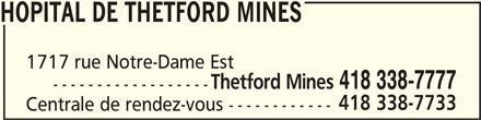 CISSS Centre intégré de santé et de services sociaux de Chaudière-Appalaches (418-338-7777) - Annonce illustrée======= - HOPITAL DE THETFORD MINESHOPITAL DE THETFORD MINES HOPITAL DE THETFORD MINES 1717 rue Notre-Dame Est Thetford Mines 418 338-7777 ------------------ 418 338-7733 Centrale de rendez-vous ------------