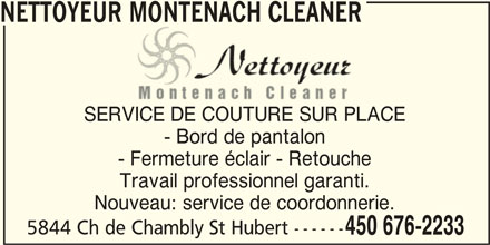 Nettoyeur montenach cleaner saint hubert qc 5844 ch for Couturiere chambly