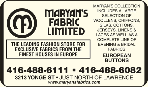 Maryan S Fabric Ltd Toronto On 3213 Yonge St Canpages