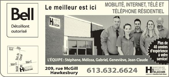 Hawkesbury Serv Telecom-Bell Authorized Retailer (613-632-6624) - Display Ad - Plus de 40 années d expérience à votre service!