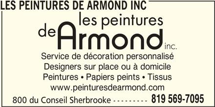 Les Peintures de Armond Inc (819-569-7095) - Annonce illustrée======= -