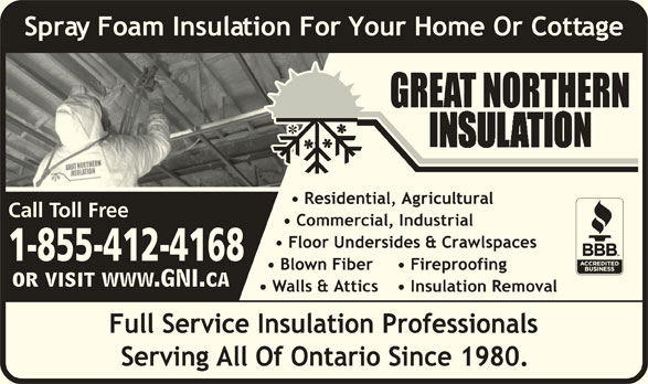 Great Northern Insulation (1-855-412-2603) - Display Ad - Call Toll Free 1-855-412-4168