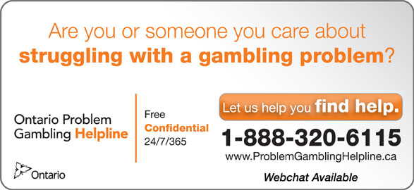 Ontario Problem Gambling Helpline (1-888-320-6115) - Display Ad -