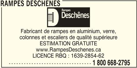 Rampes Desch Nes Louiseville Qc 621 Boul Saint