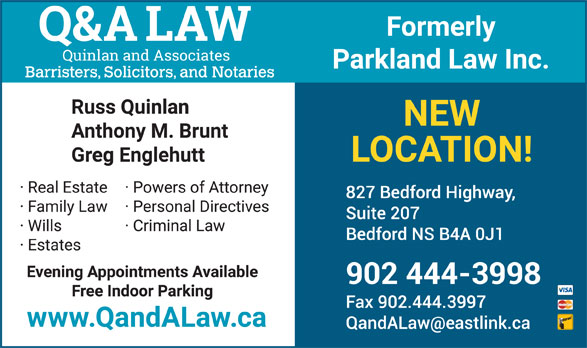 Q&A Law - Quinlan and Associates (902-444-3998) - Display Ad -