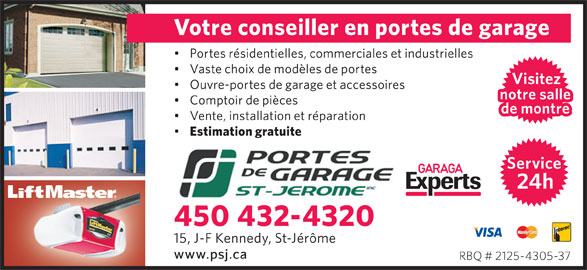Portes de garage st j r me inc saint j r me qc 15 rue for Garage ad st coulomb