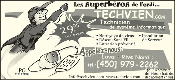 Techvien Informatique (450-979-2262) - Annonce illustrée======= - Nettoyage de virus Installationation Réseau Sans Fil de Serveurveur Entretien préventif  Entreti