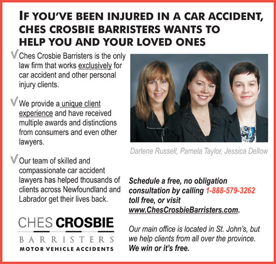 Ches Crosbie Barristers (709-579-4000) - Display Ad -