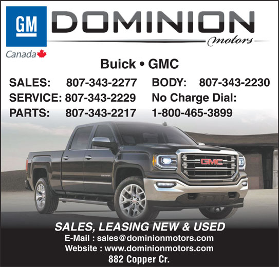 Dominion motors thunder bay on 882 copper cres canpages Dominion motors thunder bay