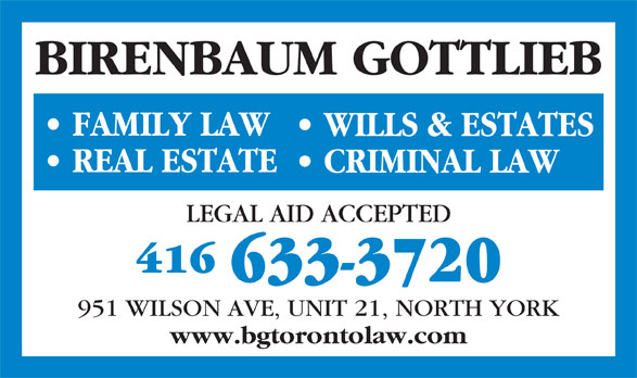 Birenbaum Gottlieb - Opening Hours - 21-951 Wilson Ave ...