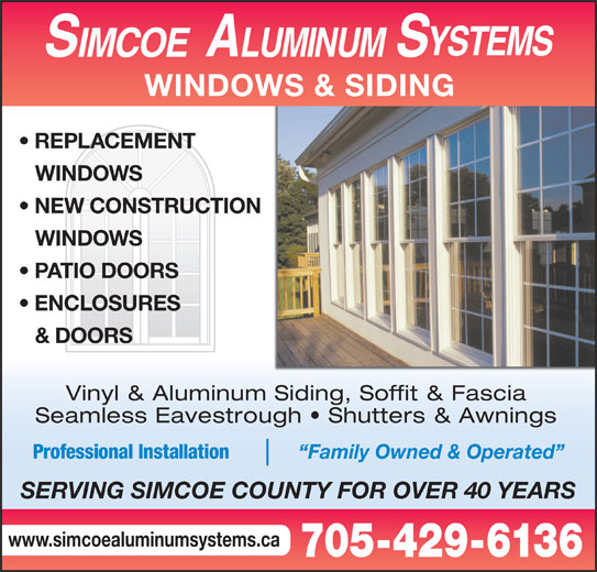 Simcoe Aluminum Systems Opening Hours 439 Robinson Rd