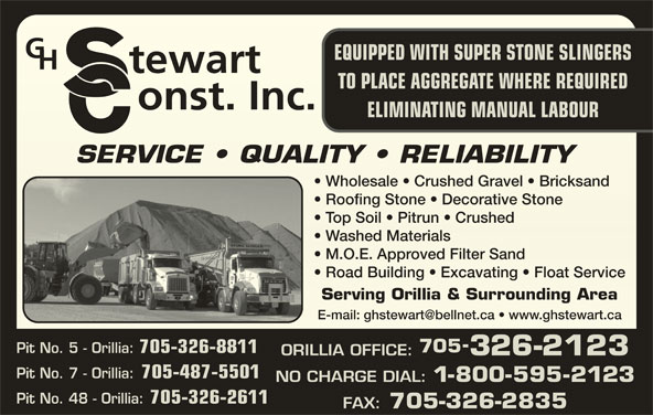 G H Stewart Construction Limited (705-326-2123) - Display Ad - Pit No. 48 - Orillia: 705-326-2611 705-326-2835 FAX: Road Building   Excavating   Float Service  Road Building   Excavating   Float Service Serving Orillia & Surrounding AreaServing Orillia & Surunding Ar M.O.E. Approved Filter Sand  M.O.E. Approved Filter Sand 705 Pit No. 5 - Orillia: 705-326-8811 326-2123 ORILLIA OFFICE: Pit No. 7 - Orillia: 705-487-5501 NO CHARGE DIAL: 1-800-595-2123 EQUIPPED WITH SUPER STONE SLINGERS TO PLACE AGGREGATE WHERE REQUIRED ELIMINATING MANUAL LABOUR SERVICE   QUALITY   RELIABILITYSERVICE   QUALITY   RELIABILITY Wholesale   Crushed Gravel   Bricksand  Wholesale   Crushed Gravel   Bricksand Roofing Stone   Decorative Stone  Roofing Stone   Decorative Stone Top Soil   Pitrun   Crushed  Top Soil   Pitrun   Crushed Washed Materials  Washed Materials